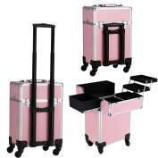 Oanon Professional Makeup Train Cosmetic Case, Multifunction Rolling Cosmetic Makeup Train Cases Trolley, Aluminium Makeup CosmeticTrolley Beauty Organiser with Keys Pink