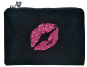 Black Canvas Zipper Bag – Pink Glitter Lips – Heart Zipper - Travel Bag – Makeup Organiser