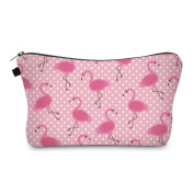 Flamingo Polka Dot Pink Design Cosmetic Travel Bag Perfect for All Kids, Teens, & Adults! 23cm . x 13cm .