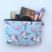 Unicorn Heart Emoji Blue Design Printed Cosmetic Travel Bag