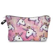 Multi Unicorns Emoji Pink Space Design Cosmetic Travel Bag Great For Kids, Teens, & Adults! 23cm . x 13cm .
