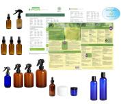 Natural Home Cleaning Essential Oil Supply Kit - Spray Bottles, Eye Dropper, Jars, Liquid Bottles, Recipes