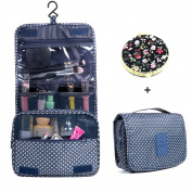 Hanging Cosmetic Bag Makeup Bag Travel Toiletry Bags, Large Capacity Travel Case make up Brushes Pouch Toiletry Kit Organiser Dark Blue Bag
