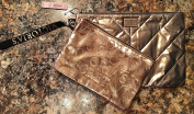 VICTORIA SECRET MATCHING COSMETIC TRAVEL BAGS WITH STRAPS AND BLING - SILVER & ROSE GOLD