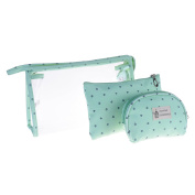 BCP 3 Piece PVC Cosmetic Makeup Travel Bag Set Aqua Blue Colour