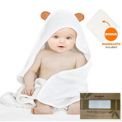 Bambies Love Luxury Hooded Baby Towel and Washcloth Set | Extra Soft Bamboo for Infant, Toddler, Newborn and Kids | Great Absorbent for Boys and Girls at Bath, Pool and Beach | Keeps Baby Dry and Warm
