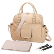 MOMMORE Nylon Nappy Bag Large Totes Nappy Handbag Changing Shoulder Bag with Changing Pad, Shoulder Strap, Stroller Hooks, Khaki