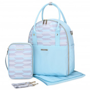 MOMMORE Large Nappy Bag Travel Changing Backpack with Changing Pad, Stroller Strap, Insulated Bottle Bag for Fashion Mommy, Light Blue