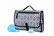 BebesWorld Portable Changing Pad - Waterproof Wipeable Station And Baby Nappy Organiser With Soft Memory Foam Pillow - Bonus Pacifier Case, Silicone Container And eBook- Foldable Travelling Kit Set