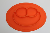 Silicone Happy Face Shape Place Mat for Kids Children Toddlers Babies Highchair Feeding Tray Kitchen Dining Table with Built in Plate 3 Sections Compartment Portable Non Slip Surface