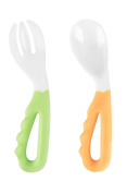 Reizbaby Toddler Easy-to-hold Spoons and Forks with Curved Handle Baby Training Tableware Two Sets