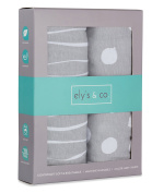 Pack n Play Sheet | Mini Crib Sheet Set 2 Pack Grey and White Abstract Stripes and Dots by Ely's & Co