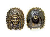 CRAFTMEmore 32x40 mm Indian Tribal Chief Head Concho Screw Back Leathercraft Decorations Pack of 2