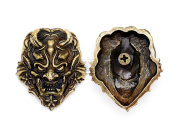 CRAFTMEmore 40x35 mm Japanese Devil Oni Demon Concho Screw Back Leathercraft Decoration Pack of 2
