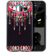 Galaxy J3 Case,Galaxy J3 Cover,ikasus Ultra Thin Case,Colourful Art Painted Black Flexible Soft Silicone TPU Rubber Bumper Case,Soft Floral Silicone Back Cover for Galaxy J3,Tribal Totem Pendant