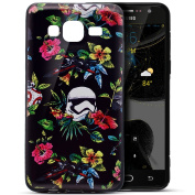 Galaxy On5 Case,Galaxy On5 Cover,ikasus Ultra Thin Case,Colourful Art Painted Black Flexible Soft Silicone TPU Rubber Bumper Case,Soft Floral Silicone Back Cover for Galaxy On5,Aircraft Flowers