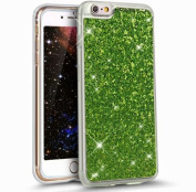 iPhone 6S Case,iPhone 6 Case,ikasus Ultra Thin Soft TPU Case,Sparkly Shiny Glitter Bling Soft Silicone Rubber Bumper Case,Crystal Clear Soft Glitter Silicone Back Cover for iPhone 6S/6 12cm ,Green