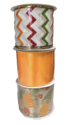 Orange Ribbon Tri-Colour Zig-Zag and Autumn Pumpkins and Leaves Bundle of Three Fall Themed Ribbons