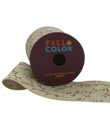 Fall Into Colour Ribbon 6.4cm x 3.7m Berries on Natural Wired Edge
