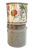 Pumpkins and Swirls Ribbon Autumn Words and Natural Burlap Bundle of Three Fall Themed Ribbons