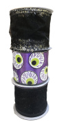 Purple Ribbon with Eyeballs Sheer Black with Sparkle and Black with Silver Tinsel Bundle of Three Halloween Themed Wire Edged Ribbons