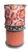 Pumpkins Candy Corn and Sheer Orange Sparkle Bundle of Three Halloween Themed Ribbons