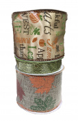 Autumn Leaves on Burlap Green Glitter Mesh and Fall Words Bundle of Three Fall Themed Ribbons