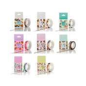 Zhi Jin 8Rolls Food Style Washi Tape Paper Set Masking Scrapbook Crafts Adhesive Tapes DIY Wall Planner Decorative Collection Gift 15mm