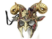 Gold accent Goat Mask Animal Ram Venetian Masquerade Halloween Cosplay Big Horns mask