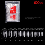 Elaco 600Pcs Clear White Natural False Acrylic Nail Art Tips UV Gel Utility