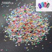 3D Nail 5000PCS Nail Art DIY Mixed Glitter 3MM Heart Star Flower Sequins Stickers