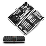 Manicure Sets Nail Clippers Kits Pedicure Tools 18 in 1,Dseap Stainless Steel For Beauty Personal Care Foot Travel & Grooming Kit with Luxurious Case. Black