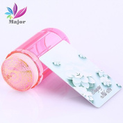 Jelly stamper Red Transparent With Head Nail Stamp Scraper Stamper Transfer Stamping Plate Polish Stencils