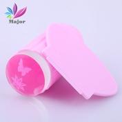 Jelly Stamper Pink Transparent Head Nail Stamp Scraper Stamper Transfer Stamping Plate Polish Stencils