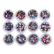 KaiCran 12 Colours Nail Art Tips Stickers Acrylic 3D Glitter Sequins Manicure DIY