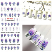 KaiCran Beauty Lavender Design Nail Art Foil Stickers Transfer Decal Tips Manicure For Women Girl