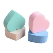 4PC Heart shaped Hydrophilic non-latex Makeup Puffs Sponge for sensitive skin Dry And Wet Dual Use Liquid Foundation BB Cream Beauty Essentials,Facial make up Sponge for sensitive skin by HODOD