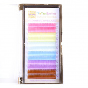 0.07 12mm Pastel Rainbow Individual Eyelash Extensions Colourful Eyelashes for Makeup