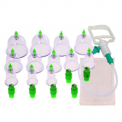 12 pcs/set Chinese Medical Vacuum Body Cupping Set+Moxa Paste Health Care Massage