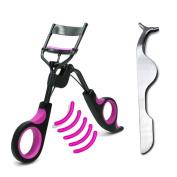 1pcs Eyelash Curler + 5pcs Silicone Refill Pads with 1 FREE Eyelash Clip Tweezers, No Pinching Pulling, Long Lasting & Natural Looking Curl Painless, Great for Women