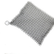 Charberry 20cm x 15cm Stainless Steel 316L Cast Iron Cleaner Chainmail Scrubber for Cast Iron Pan