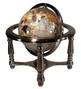 Unique Art 33cm Tall 23cm Diameter Pearl Powder Ocean Desktop 4-Leg Silver Stand Gemstone Globe