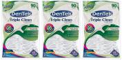 DenTek Extra Strong Triple Clean Floss Picks, Mouthwash Blast, 90 Count