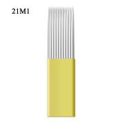Double Shading 21 Pins Microblading Shader Needle 100Pcs Manual Permanent Make-up Blades - QMYBrow