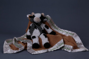 """Hey Diddle, Diddle The Cat And The Fiddle"" Nursery-Rhyme-Embroidered Baby Blanket w/ Stuffed Cow - Size 80cm x 80cm"