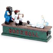 Bits and Pieces - Baseball Mechanical Coin Bank- Collectible Cast Iron Mechanical Bank - Slide Home and into Savings