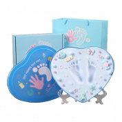 Baby Handprint Footprint Kit with Non Toxic & Sticky CLAY,Unique Baby Shower gifts-Significant keepsake kit for New Parents,Perfect for Nursery room,home.
