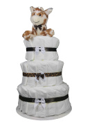 Giraffe Brown 3-Tier Nappy Cake. Decorate it Yourself for a Baby Shower, For a Boy, Girl or Gender Reveal Party - Sunshine Gift Baskets