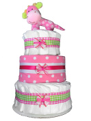 Pink 3-Tier Nappy Cake. Decorate it Yourself for a Girl. Decorated with Ribbons and Bows - Topped with a Plush Giraffe Rattle - Sunshine Gift Baskets