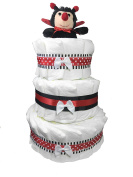 3-Tier Nappy Cake. Decorate it Yourself for a Girl Baby Shower. Decorated with Ribbons and a Bow - Topped with a Plush Ladybug - Sunshine Gift Baskets